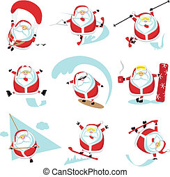 Extreme Santa - Cartoon extreme Santa set 1. EPS 10....