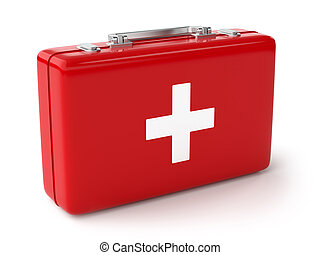 First aid kit - 3d illustration of first aid kit Isolated on...