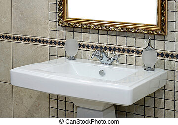 Italian basin - Italian style basin and faucet with ancient...