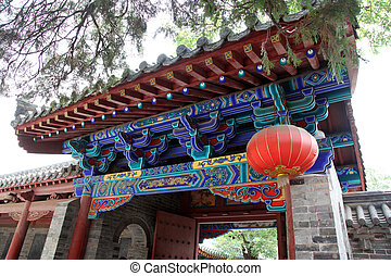 Gate in the Temple in Shao Lin, China
