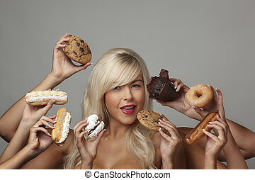 woman eating cream cakes - sexy woman surrounded by many...