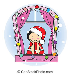 Girl dressed as Santa Claus watching the snow through the...