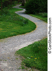 Winding path - path winding into the unknown and a crossing...