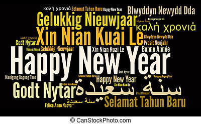Happy New Year in different language. Words cloud. Diversity...