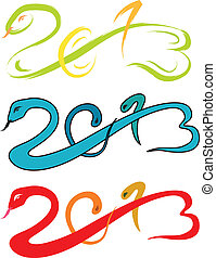 2013 new year, snake sketch vector - Year of the Snake 2013...