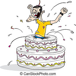 Jump out birthday cake - Cartoon illustration of a man...
