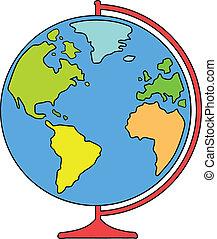 world globe - desk world globe for education. vector...