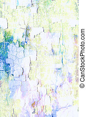 Abstract textured background: blue, green, and yellow patterns on white backdrop