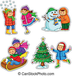 kids in winter - set of happy kids enjoying winter