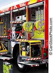 Fire engine unpack - Fire engine truck with lot of rescue...
