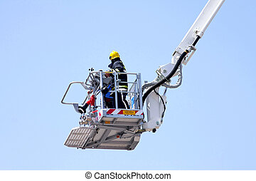 Fire platform - Fire fighter in big and tall crane