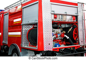 Fire pump engine - Water and foam pump engine in fire truck