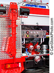 Fire truck detail - Water and foam pump engine in fire truck...