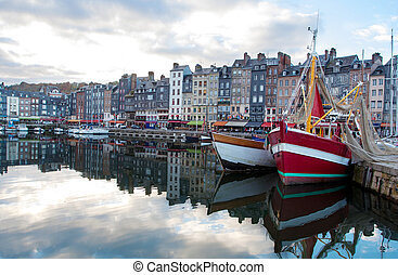 small sea port. Port of Honfleur, France