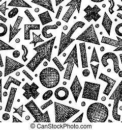 Seamless pattern with sketchy objects - Vector seamless...