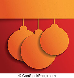 Orange Christmas balls on red. Christmas and Happy New Year...
