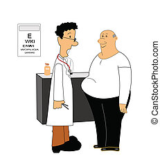 weight loss - doctor speaking to patient who is overweight...