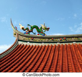 Decorated Temple Roof - -- Chinese temple detail with a...