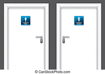 Doors with restroom symbols for man and women