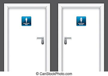 Doors with restroom symbols
