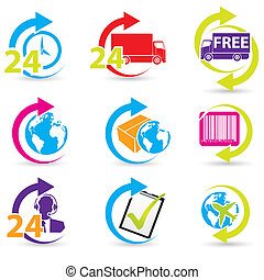 Postage and support related icons - Postage and support...