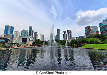 Fountain in The Park - A fountain in KLCC park.