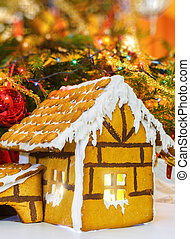 Christmas gingerbread house decoration on background of...