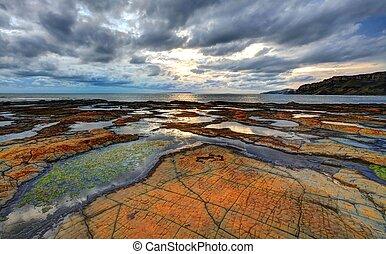 Kimmeridge bay Dorset - Sunlight at Kimmeridge Bay on the...