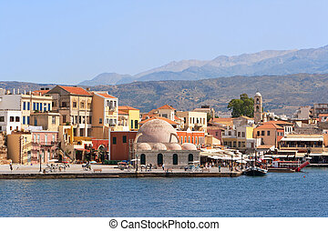 Quayside in Chania Crete, Greece - Old Venetian harbor in...