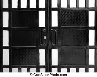Metal Portal - -- a solid iron gate with rectangle patterns...