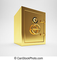 Gold safe isolated on white