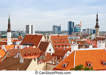 Cityscape of Tallinn Estonia - Old and modern architecture...