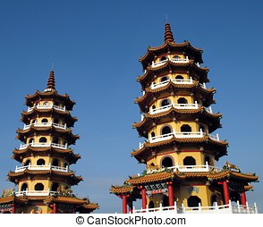 Two Pagodas - -- the Spring and Autumn Pagodas in Kaohsiung,...