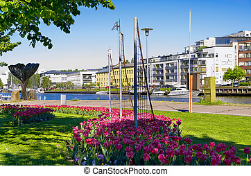 City of Turku Finland - Promenade along the Aurajoki river...