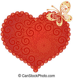 Red vintage heart - Large red romantic vintage heart with...