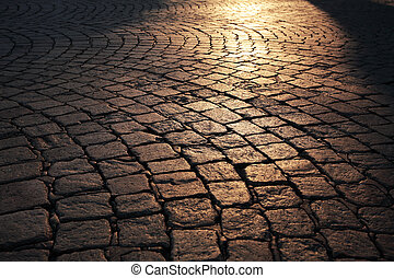 stone floor at sunset