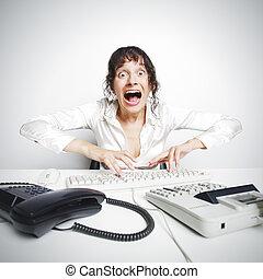 Female secretary crazed from overwork