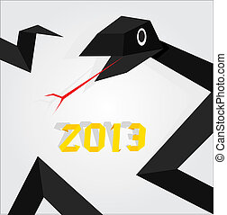 Year of black snake. - Vector New Year's Eve greeting card...
