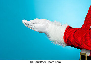Cropped image of Santa with open palms