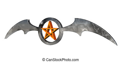 pentagram - ring with batwings and pentagram - 3d...