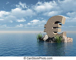 euro monument - euro symbol monument at the ocean - 3d...