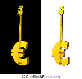 music business - golden euro bass guitar on black background...