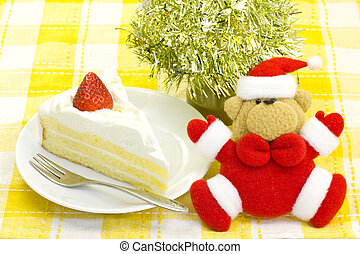 Shortcake and Santa Claus - This is a photograph of a...