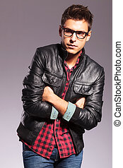 casual man with glasses and leather jacket - young casual...