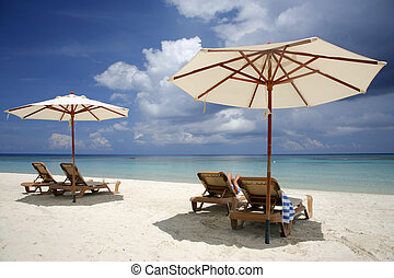 Beach Scene - Nice vacation picture with beach parasols