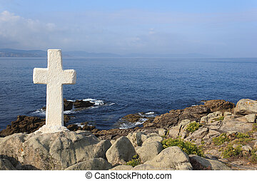 Cross near the ocean - A view of a cross near the Atlantic...