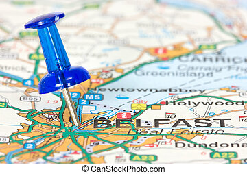 Belfast, Northern Ireland - Pushpin pointing location of...