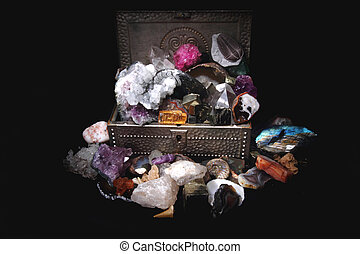 minerals and gems in the steel box in the dark