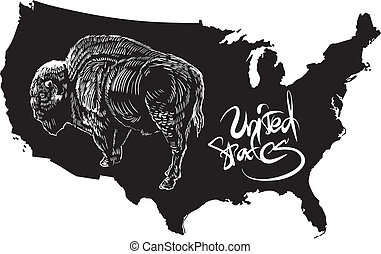 American buffalo and U.S. outline map. Black and white...