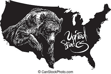 Grizzly bear and U.S. outline map. Black and white vector...
